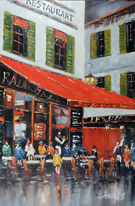 Paris Sidewalk Restaurant Cafe Bar Bistro Tables Tall Oil Painting STRETCHED