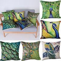 Charming Peacock Pillow Case Throw Waist Cushion Cover Car Home Decor Xmas Gifts