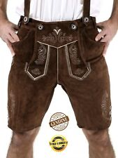 Mens Short Bavarian Lederhosen Cowhide Brown Leather with Matching Suspenders