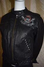 Women's Ed Hardy by Christian Audigier Hand Crafted Genuine Leather Jacket SizeM