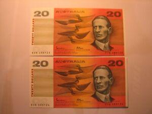 1985 $20 pair of Johnston Fraser OCR-B banknotes, aUNC.