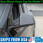 ABS Glossy Carbon Fiber Rear Mirror Cover Trim Cap For Tesla Model Y 2020 2021