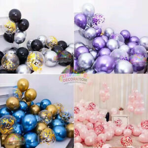 """10"""" 12 inch large latex chrome plain confetti balloons WHOLESALE party birthday"""