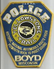 """Boyd, WI  """"Yellowstone Trail"""" (4.25"""" x 5.25"""" size)  shoulder police patch (fire)"""