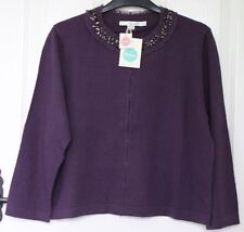 BNWT Boden SPANGLY Beaded Sequin Crew Neck 3/4 Sleeve Crop Cardigan Damson - 16