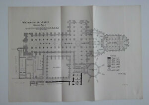 1898 WESTMINSTER ABBEY LONDON Ground Plan ~ Antique Folded Print