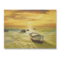 Large contemporary modern seascape boat on beach sunset oil painting canvas #84