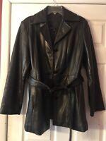 Avanti Black Leather Jacket/Coat, Front Belt, Pockets, Size Large