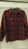 Vintage Christmas Red Pendleton 1960s Loop Collar Wool Board Shirt M Flannel