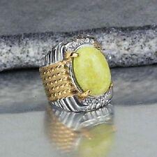 sello mixto acero inoxidable color plata /oro cabujón ágata amarillo T.59