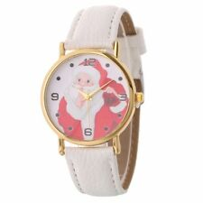 Women Santa Claus Patetrn Quartz Casual Leather Strap Wrist Watch Christmas Gift