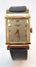 W289- VINTAGE MEN'S LONGINES SOLID 14K  GOLD DRESS WATCH FANCY LUGS