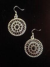 Earrings Big Silver Black Hippie Ethnic Boho Gypsy Folk Bohemian A1102