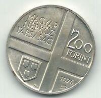 HIGH GRADE BU 1976 HUNGARY SILVER 200 FORINT COIN-JUN333