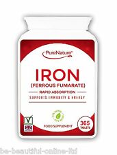 365 Iron Ferrous Fumarate Tablets Vegetarian Vitamins & Minerals 12 Month supply