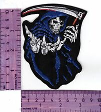 Blue Grim Reaper, Bikers Vest or Jacket Embroidered Cloth Patch