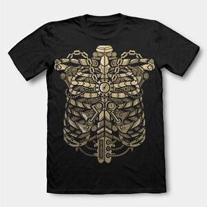 STEAMPUNK RIBCAGE metal chest chain  mashup tshirt tee dtg