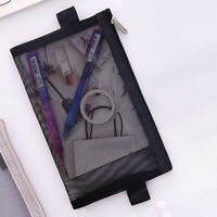 HO_ AD_ Portable Nylon Mesh Pencil Bag Stationery Cosmetic Zipper Storage Pouch