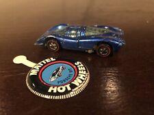 1969  Mattel  Hot Wheels Redlines- Porsche 917 - Blue + Button