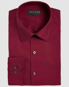 Alfani 15-15.5 32/33 Men's Slim-Fit Red Stretch Long-Sleeve Dress Shirt NWT $60