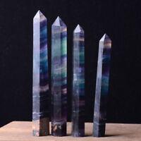 Natural Rainbow Fluorite Quartz Gemstone Hexagonal Wand Point Reiki Healing 1pcs