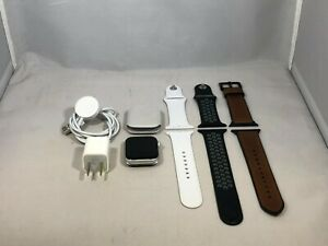 Apple Watch Series 4 Silver Sport Good Cond. 44mm w/ 3 Bands + Accessories READ