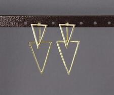 gold dangle ear jacket front back earrings triangle geometric double look stud
