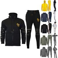 Mens Embroidered Laser Cut Ripped Hooded Bottom Army Patches Joggers Tracksuit
