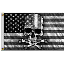 Grayed American Flag with Skull & Crossbones 3' x 5' Flag with Grommets #1073