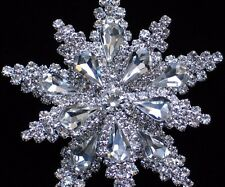 """PRONG SET SILVER CLEAR RHINESTONE FLOWER SNOWFLAKE PIN BROOCH JEWELRY 2.5"""" 3D"""