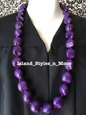 Hawaii Wedding Kukui Nut Lei Graduation Luau Hula Party Necklace SOLID PURPLE