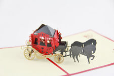 Carriage Horse 3D Pop Up Greeting Handmade Kirigami Cards Engagement Wedding