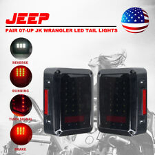 07-17 Jeep Wrangler JK Pair LED Rear Tail Lights Smoke Reverse Brake Turn Signal