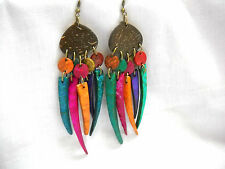 BOHO EXOTIC COCONUT SHELL BROWN & DANGLING SPIKES BRIGHT COLORS LONG EARRINGS