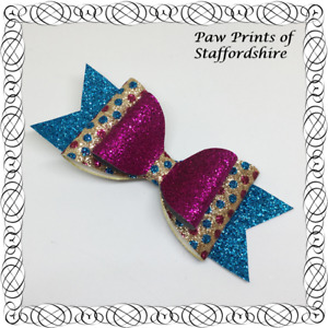 Turquoise, Pink & Gold Spotty Glitter Hair Bow On Alligator Clip