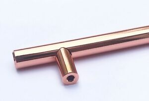 Kitchen Cabinet Draw Door Handles Knobs Rose Gold Solid Steel Bar Pull Unit New