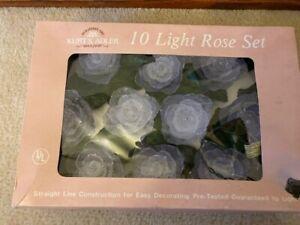 Vintage Kurt Adler 10 Light Rose Set Complete in Box Working!