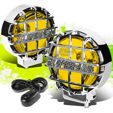 "6""ROUND CHROME BODY YELLOW FOG LIGHT/OFFROAD SUPER 4X4 GUARD WORK LAMP+GRILLE"