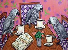 AFRICAN grey parrot-  BIRD art PRINT -JSCHMETZ - modern folk - coffee gift 13x19