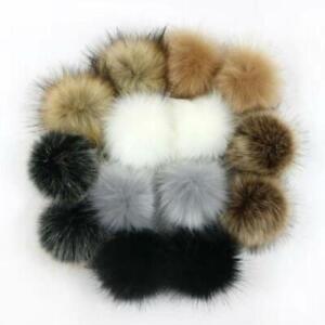 14pcs 10cm Faux Artificial Fur Pom Pom Ball with Elastic Band for DIY Knitting