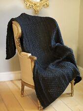 Aran Crafts 100% Pure Irish Made Wool Charcoal Honeycomb Wool Throw Blanket