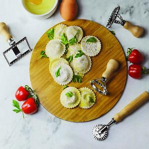 Ravioli Cutter Set with 2 Round 1 Square & Roller Cutter Pasta Making Kit M&W