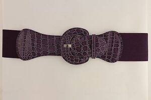 Women Belt Wide Elastic Dark Purple Fashion Hip High Waist Round Buckle XS S M