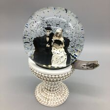 Skeleton Bride Groom Water Snow Globe Wedding Old Fashioned Sofa Halloween 9""