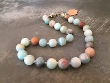 """Natural Amazonite Faceted Necklace Hand Knotted Aqua Blue 12mm 18"""""""