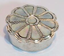 Vintage Pill Snuff Box - White Metal Mother of Pearl Inlay Lid Flower Shape