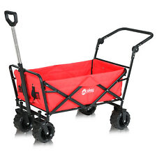 More details for folding wagon pull & push cart trolley garden camping festival sports beach red