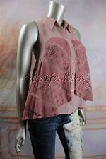 New MINK PINK Beige Rose Pink Lace Overlay Flared Button Down Shirt Top Large