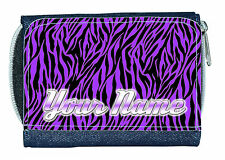 Purple Zebra Print Personalizado señoras / chicas Denim Monedero / mini Cartera-llamado