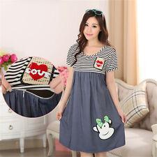 Summer Pregnant Women Casual Cotton Love Short Sleeve Nursing Maternity Dresses